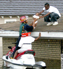 Hurricane Katrina survivors being rescued from roof top